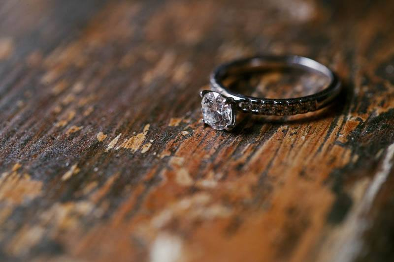 Wedding rings on timber