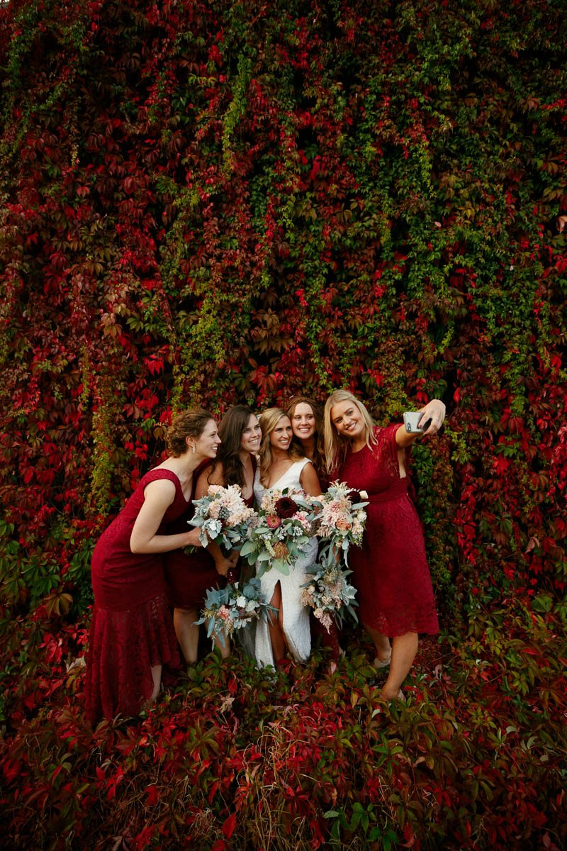 Autumn leaves with bridesmaids at Mandalay House and Garden