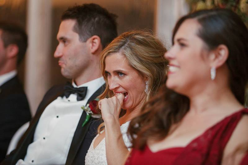 Bride embarrased at the best man speech