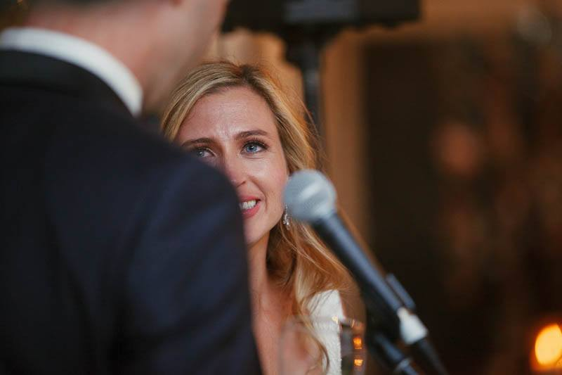 Bride reactions to the grooms speech