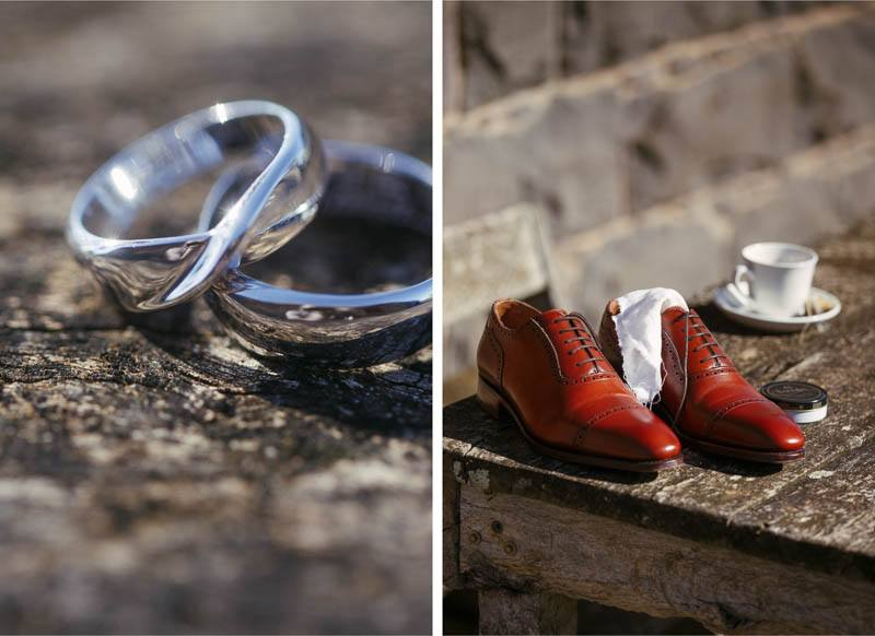 Boys details of rings and shoes