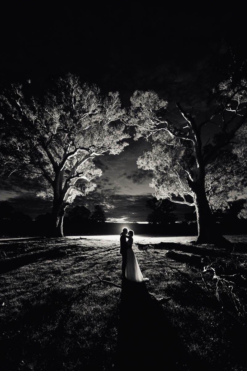Sunset black and white photo of the bride and groom backlit standing between two gumtrees