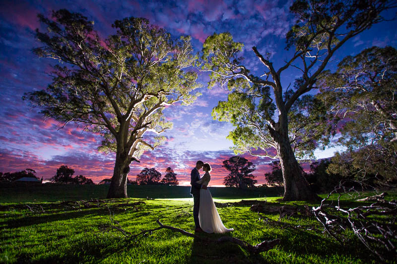 Sunset shot of the bride and groom backlit standing between two gumtrees at Mt Sturgeon Homestead, Dunkeld VIC