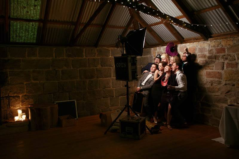 Guests loving the photo booth in the shearing shed at Mt Sturgeon