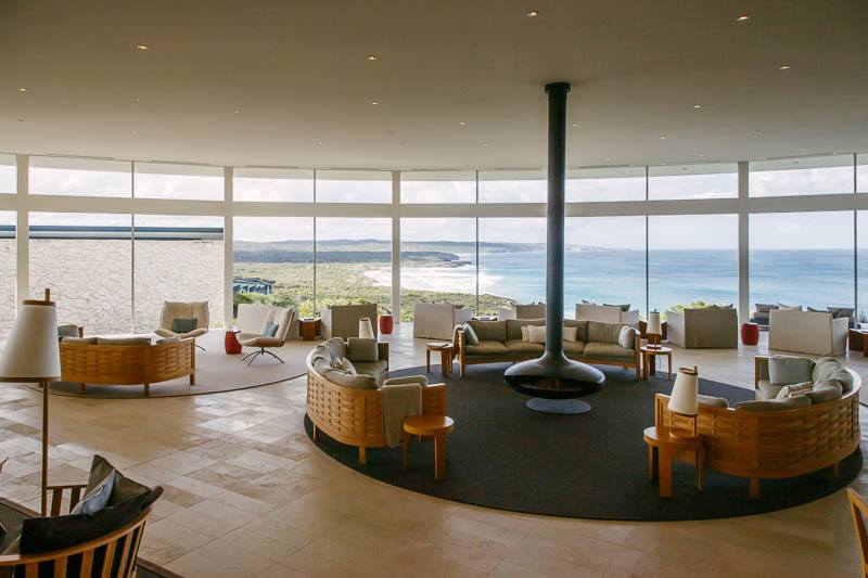 The main lobby & dining room at Southern Ocean Lodge