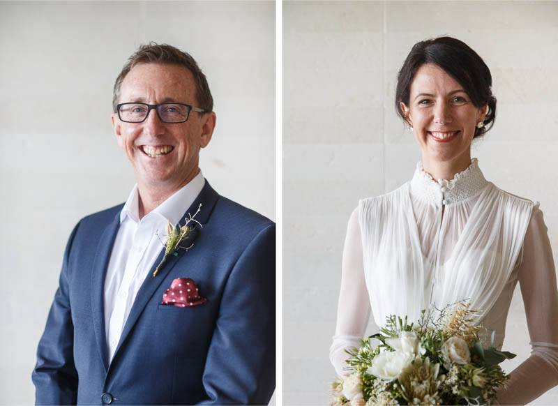 Portraits of both the bride and groom