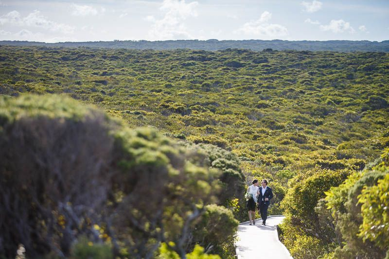 Walking back to Southern Ocean Lodge after the wedding