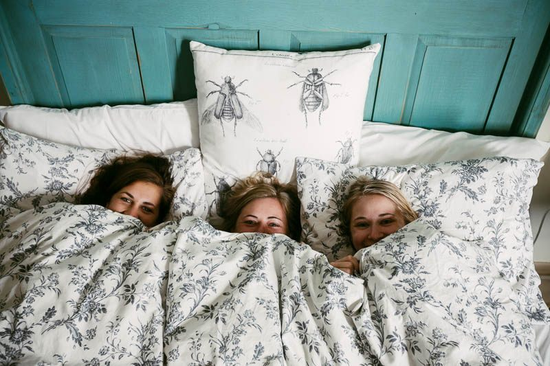 The bridesmaids having only just woken up on the morning of their wedding at Waverley Estate