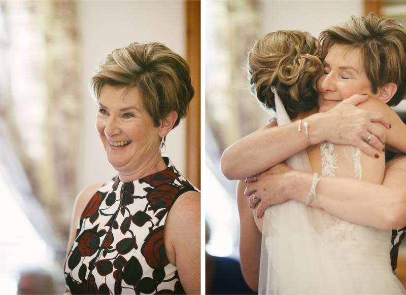Emotional hugs by the mother of the bride