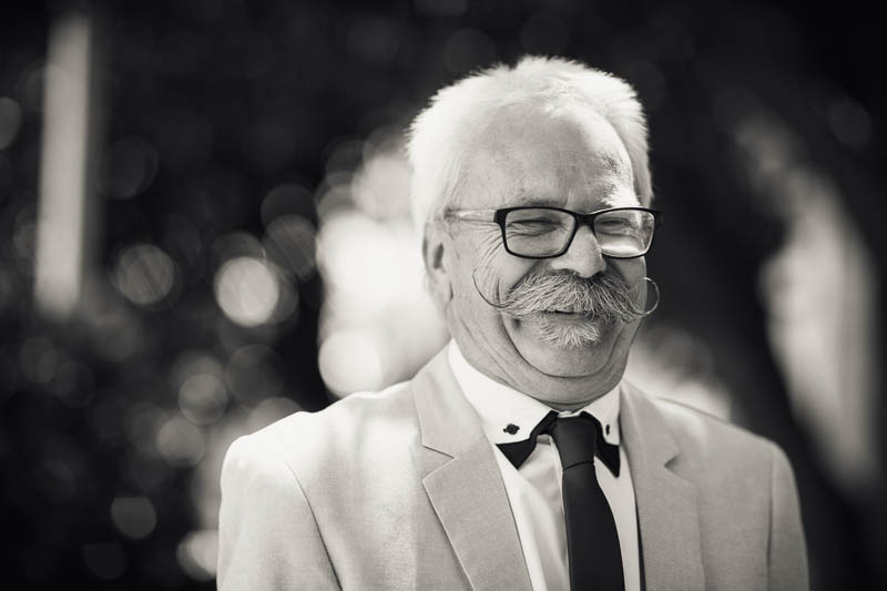 Father of the bride with an amazing moustache