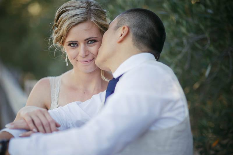 Bride and groom kissing at Waverley Estate