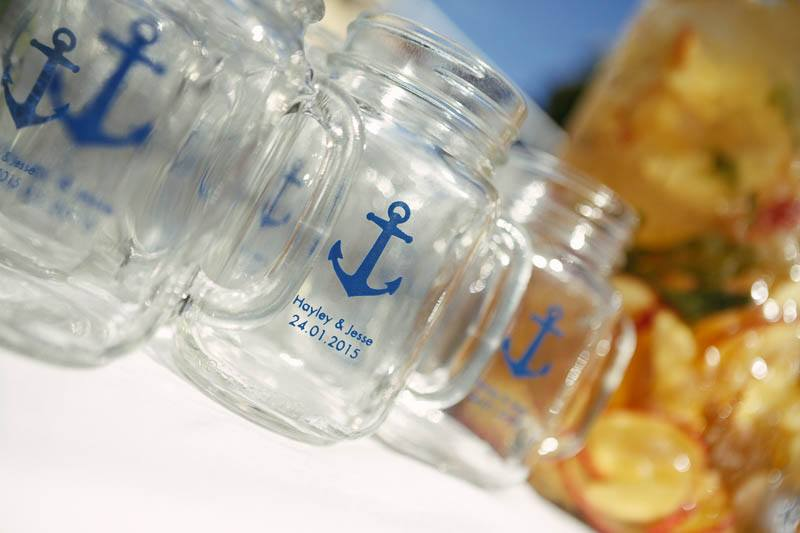Detail of the glasses for the reception