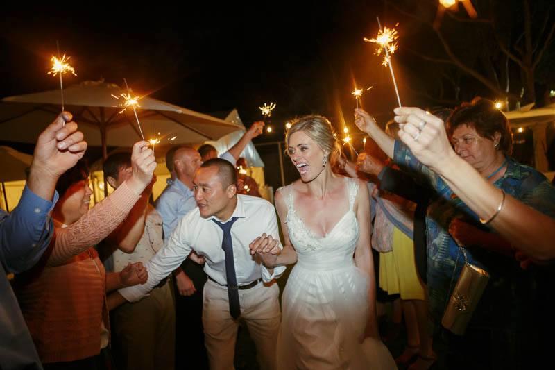 Sparkler exit at the end of the wedding at Waverley Estate in Pt Elliott
