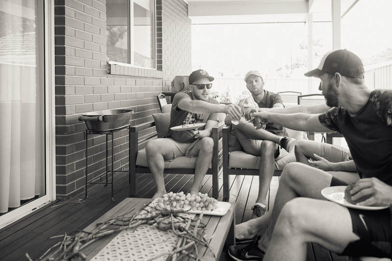 After finishing all the lighting preparation at the venue, the groomsmen relaxed for a few minutes with a beer