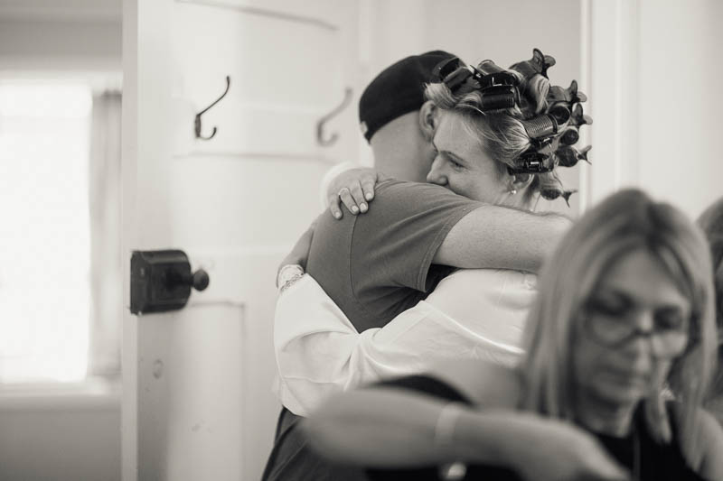 Morning hugs for the bride