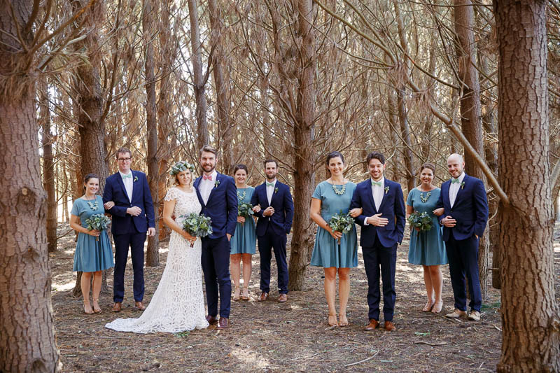 Bridal party in the pine forest at Barristers Block