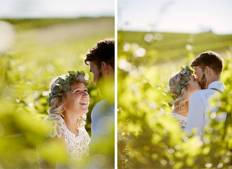 Cuddles and kisses from the bride during photos at Barristers Block