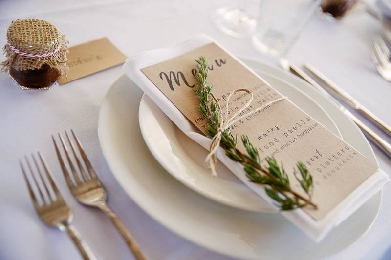 Table setting for wedding at Barristers Block