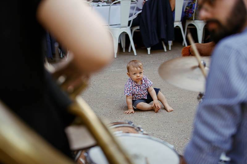 Little boy watching the band play