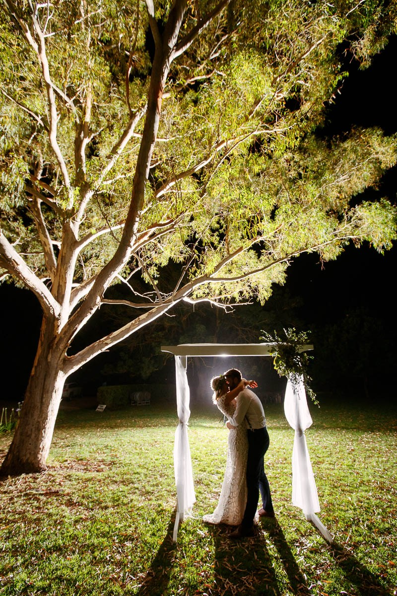 Night time wedding photos for the bride and groom at Barristers Block