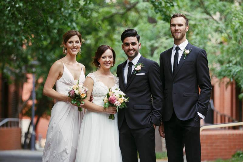Bridal party wedding photos in Ebenezer Place in Adelaide CBD