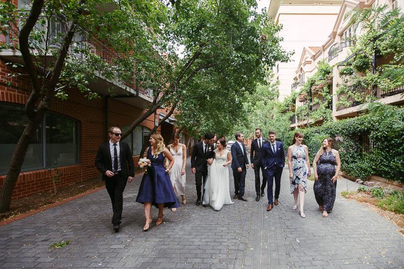 Bridal party wedding photos just off Ebenezer Place in Adelaide CBD