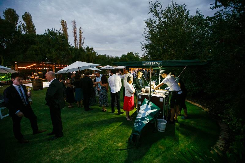 Guests enjoying the crepe cart after sunset
