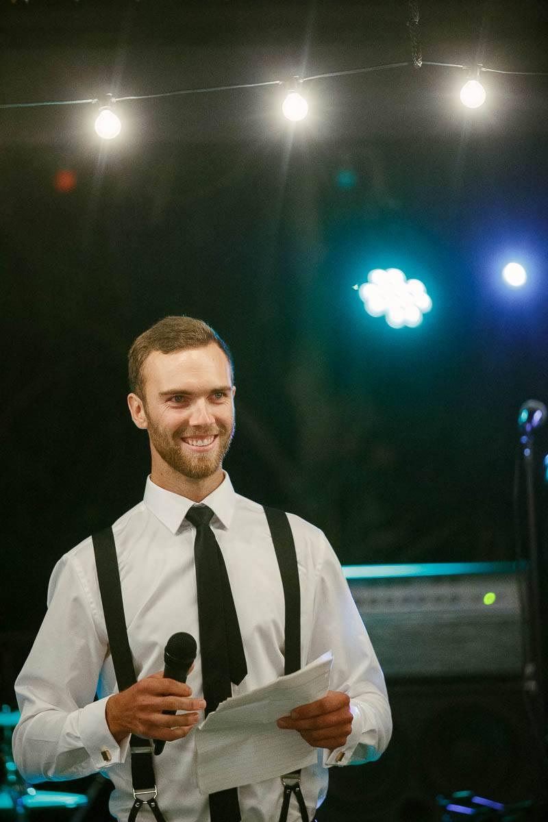 The best man giving his wedding speech