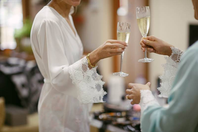 Morning champagne for the girls before their wedding