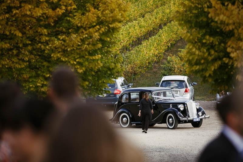 The car arrives at the ceremony at Golding Wines