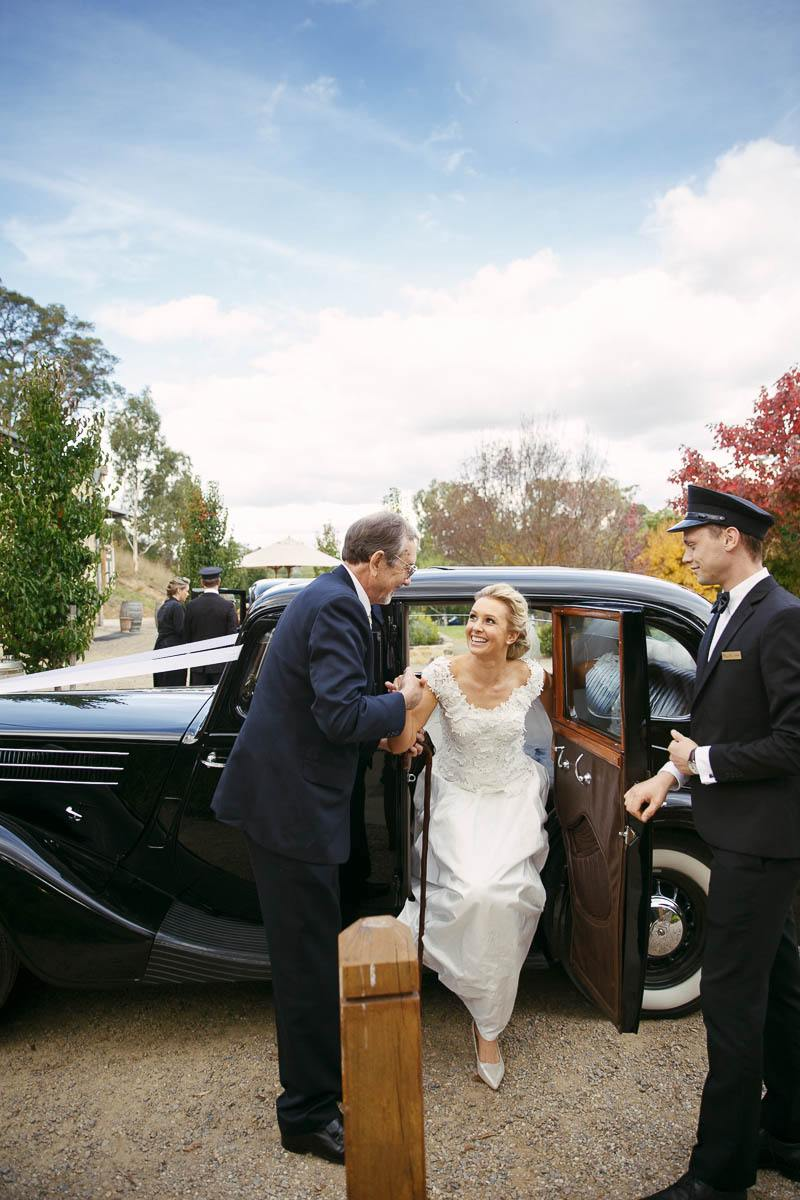Getting out of the car before the ceremony