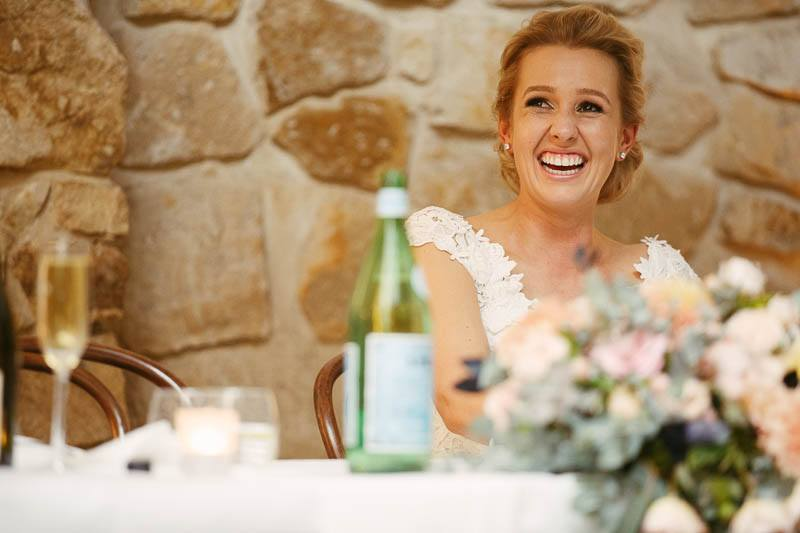 Bride listening to the speeches