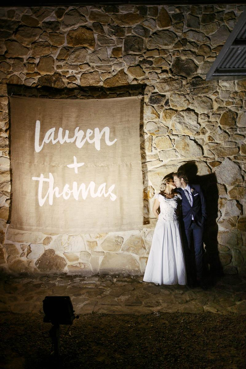 Bride and Groom night time photos outside at Golding Wines