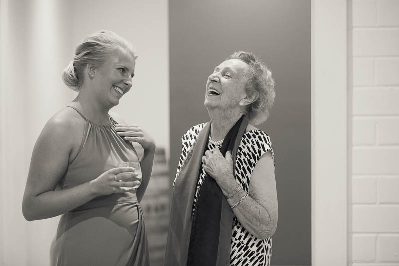 Bridesmaid and Grandmother share a moment at Golding Wines