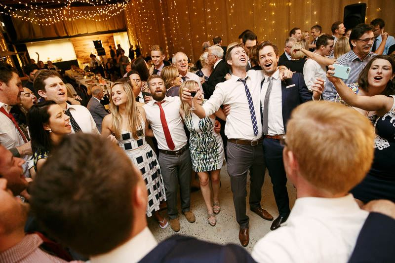 Wedding guests on the dance floor at Golding Wines