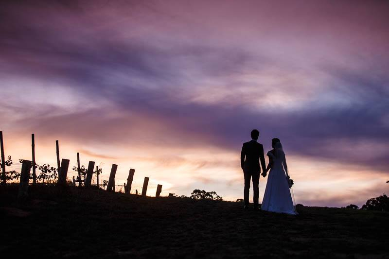 Bride and groom enjoying sunset on top of a hill at Golding Wines