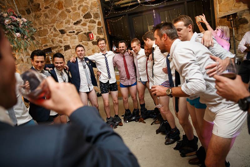 Boys dancing with their pants down at Golding Wines