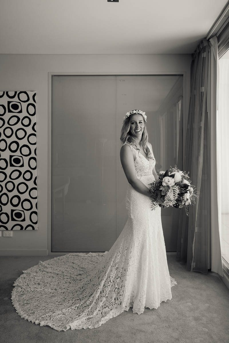 Bride portraits by the window