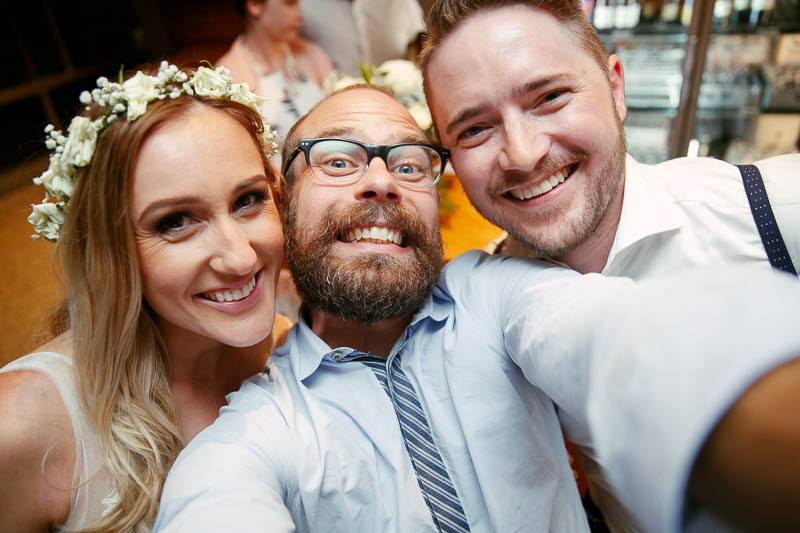 James Field selfie with the bride and groom