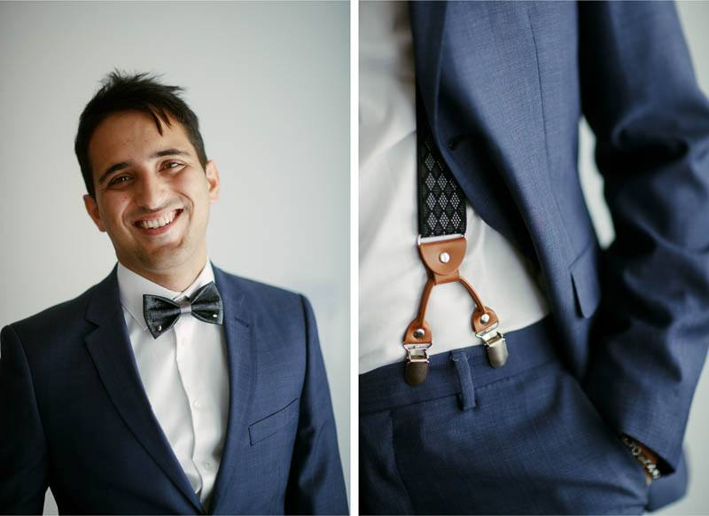 Portrait of the groom before the wedding, including details of his suspenders