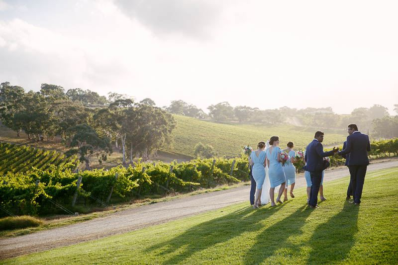 The bridal party walk off to start taking photos after the wedding at Longview Vineyard