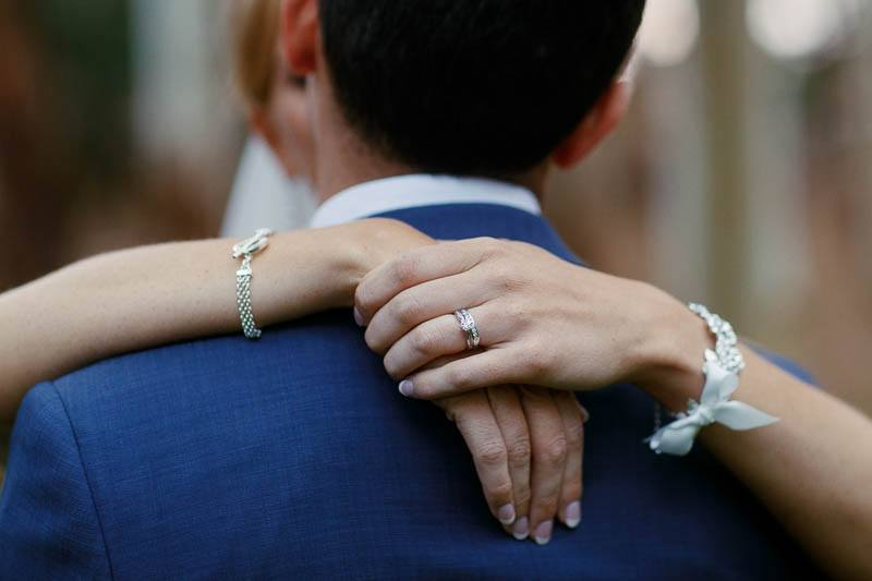 Detail of the hands and wedding ring of the bride