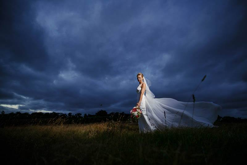 Bride on top of the hill at Longview Vineyard after sunset