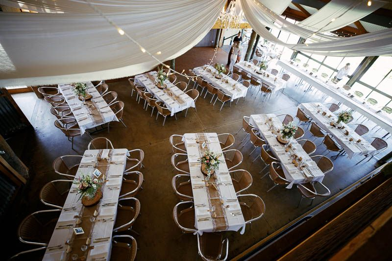 Reception room shot from the mezzanine level at Longview Vineyard