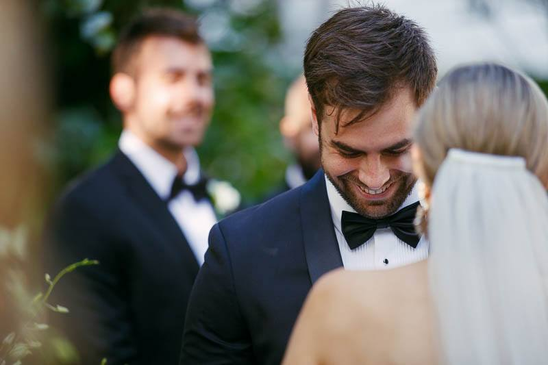 Laughing groom during the wedding ceremony