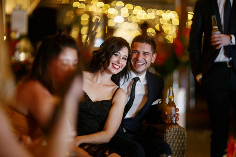 Guests in love at the wedding reception