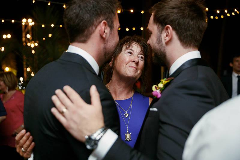 Mother of the groom having a lovely time at the wedding reception