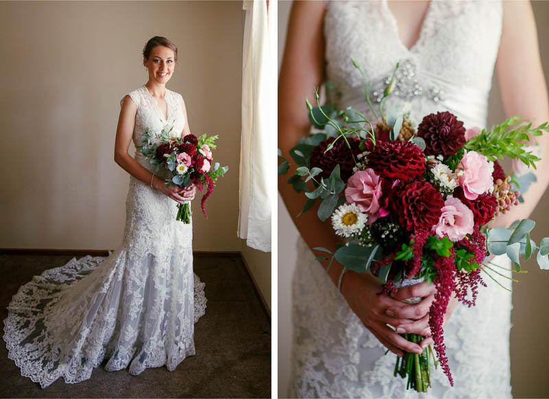 Portrait of the bride and her flowers