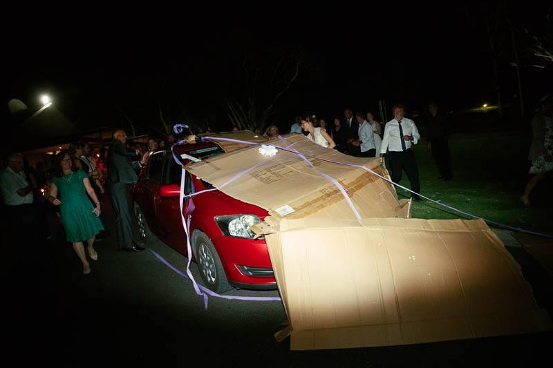 Car covered in cardboard
