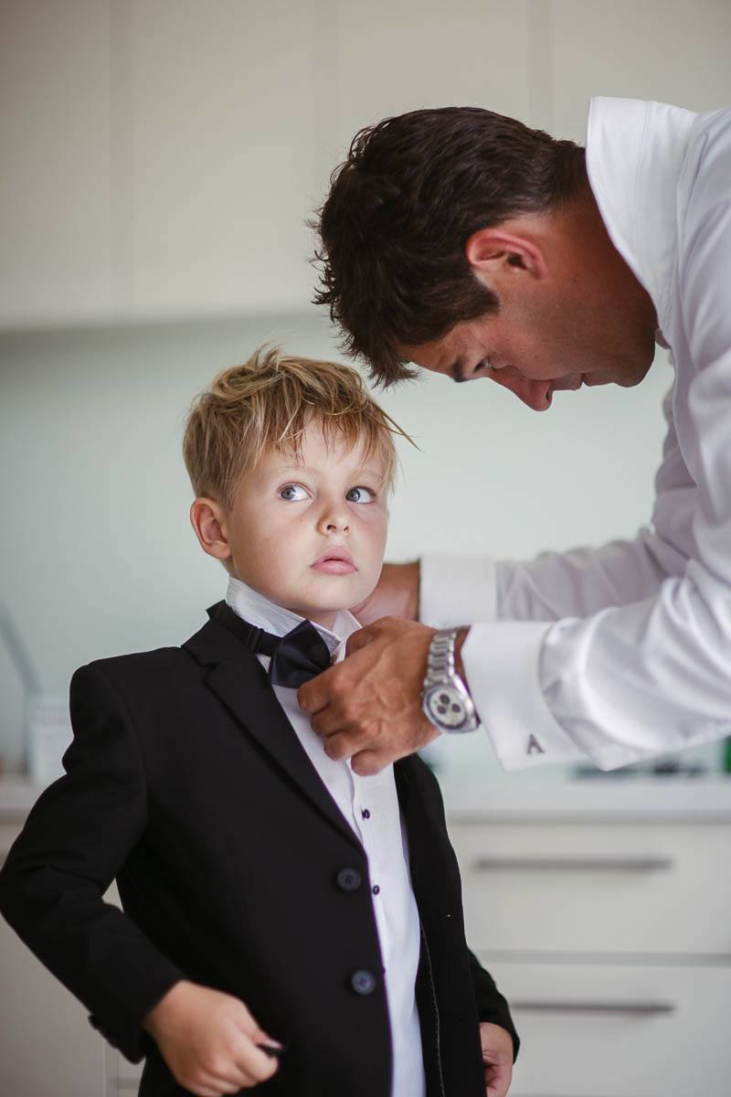 Pageboy getting ready for the wedding